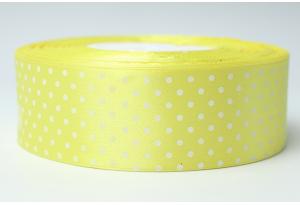 Атласная лента 4 см, в горох, желтая