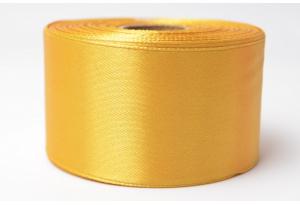 Атласная лента 4 см, однотонная, темно-золотая