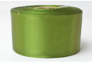 Атласная лента 4 см, однотонная, темно-оливковая