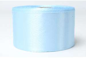 Атласная лента 4 см, однотонная, голубая