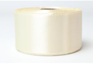 Атласная лента 4 см, однотонная, кремовая