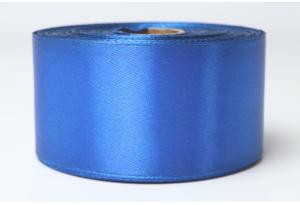 Атласная лента 4 см, однотонная, синяя