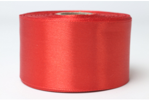 Атласная лента 4 см, однотонная, красная