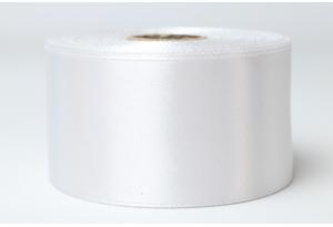 Атласная лента 4 см, однотонная, белая