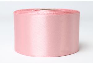 Атласная лента 4 см, однотонная, пастельно-розовая