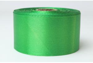Атласная лента 4 см, однотонная, зеленая