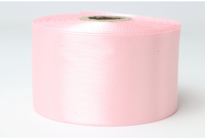 Атласная лента 4 см, однотонная, светло-розовая
