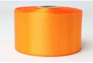 Атласная лента 4 см, однотонная, оранжевая