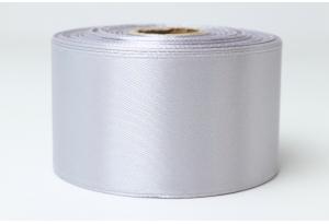 Атласная лента 4 см, однотонная, серебро