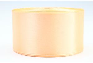 Атласная лента 4 см, однотонная, персиковая