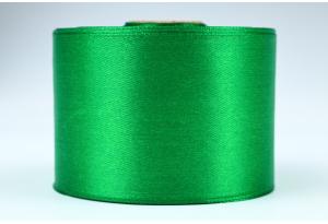 Атласная лента 5 см, однотонная, зеленая, 19