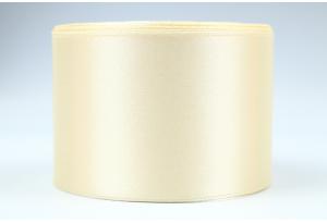 Атласная лента 5 см, однотонная, кремовая
