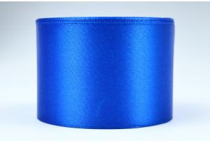 Атласная лента 5 см, однотонная, синяя
