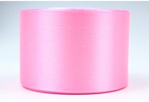 Атласная лента 5 см, однотонная, розовая, 147
