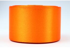 Атласная лента 5 см, однотонная, оранжевая, 24
