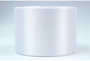 Атласная лента 5 см, однотонная, белая, 01