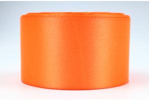 Атласная лента 5 см, однотонная, морковная, 22