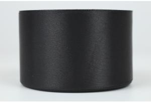 Атласная лента 5 см, однотонная, черная