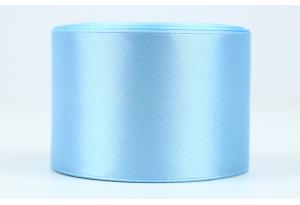Атласная лента 5 см, однотонная, голубая