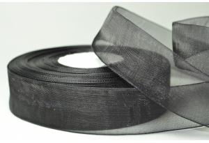 Лента из органзы 2.5 см, черная