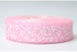 Лента из органзы с пионами, 2.5 см, розовая
