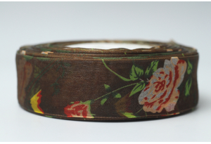 Лента из органзы с розами, 2.5 см, коричневая