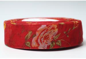 Лента из органзы с розами, 2.5 см, красная