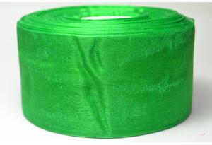 Лента из органзы 5 см, зеленая