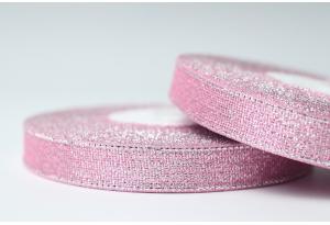 Лента парчовая 1.2 см, светло-розовая с серебром, №04