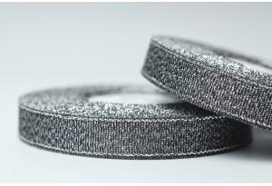 Лента парчовая 1.2 см, черная с серебром, №111