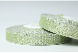 Лента парчовая 1.2 см, оливковая с серебром, №10