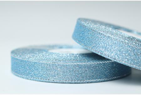 Лента парчовая 1.2 см, голубая с серебром, №70