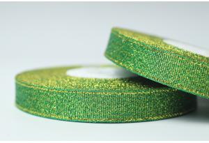 Лента парчовая 1.2 см, зеленая с золотом, №19