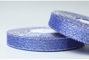 Лента парчовая 1.2 см, синяя с серебром, №121