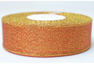 Лента парчовая 2.5 см, красная с золотом