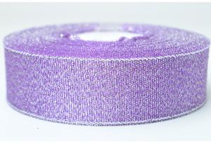 Лента парчовая 2.5 см, фиолетовая с серебром