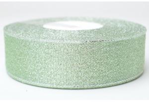 Лента парчовая 2.5 см, тиффани с серебром