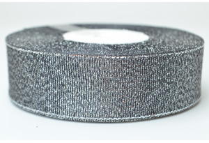 Лента парчовая 2.5 см, черная с серебром