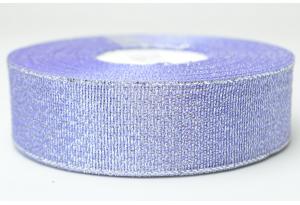 Лента парчовая 2.5 см, сиреневая с серебром