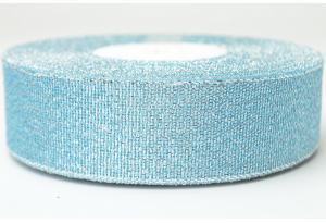 Лента парчовая 2.5 см, голубая с серебром