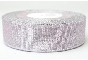 Лента парчовая 2.5 см, светло-сиреневая с серебром