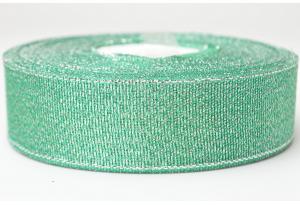 Лента парчовая 2.5 см, морская волна с серебром