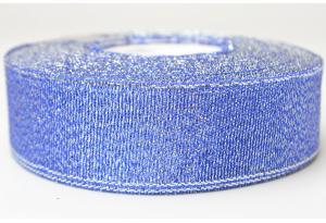 Лента парчовая 2.5 см, синяя с серебром