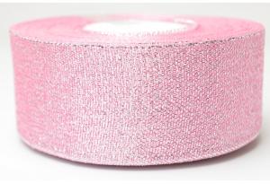 Лента парчовая 4 см, розовая с серебром