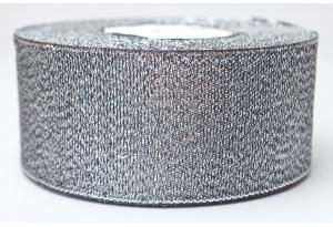 Лента парчовая 4 см, черная с серебром