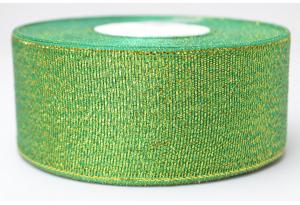 Лента парчовая 4 см, зеленая с золотом