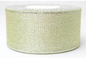 Лента парчовая 4 см, оливковая с серебром