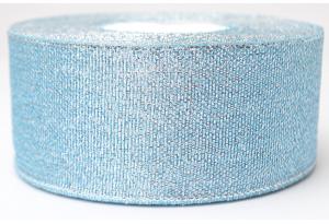 Лента парчовая 4 см, голубая с серебром