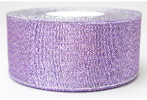 Лента парчовая 4 см, фиолетовая с серебром