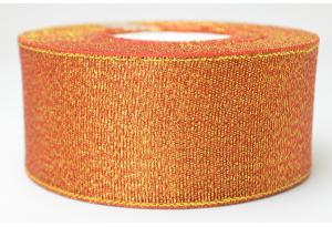 Лента парчовая 4 см, красная с золотом